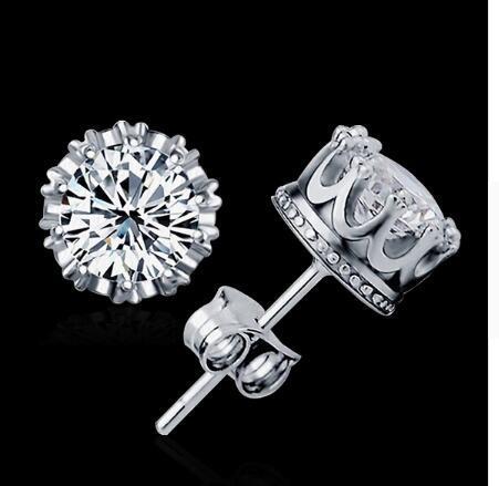 CZ orecchini a lobo gioielli moda orecchini unisex alla moda / uomini orecchini di cristallo corona orecchini piercing all'ingrosso