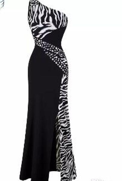 Angel-fashion Women One Shoulder Zebra Beaded Gemstones Stitching Evening Dresses Prom Gowns Evening Dress Party Dress 072
