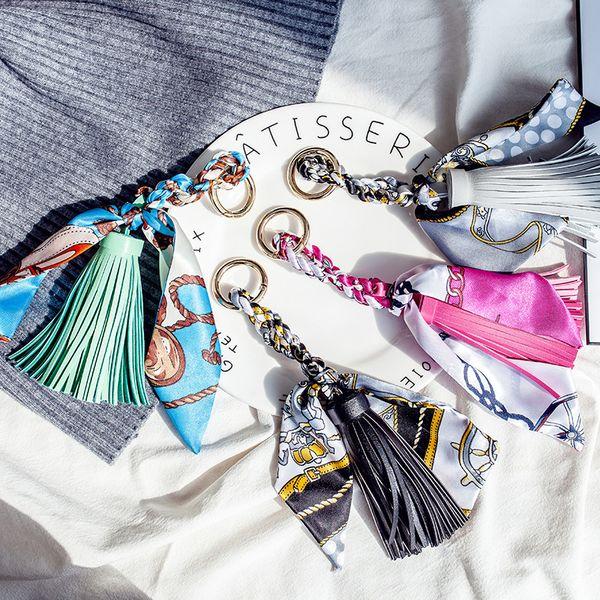 Fashion Key Chain floral foulard en soie imprimé lambrissé gland porte-clés voiture porte-clés femmes sac bourse chaîne pendentif charme bijoux accessoires