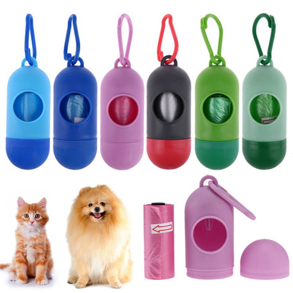 top popular Pick-up Pet Bags portable Garbage Bags with Plastic pill Shape Storage Box Cat Dog Poo Clean-up Waste Bag Pet Cleaning Supplies 2020