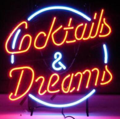 """Custom New COCKTAILS AND DREAMS Real Glass Neon Sign light Beer Bar Sign Send need photo 19x15"""""""