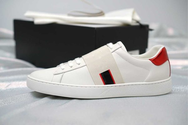 2018 Designer white shoes luxury Casual Shoes mens women sneakers Coloured ribbon Genuine Leather ace shoes fashion whosale Sports shoe good
