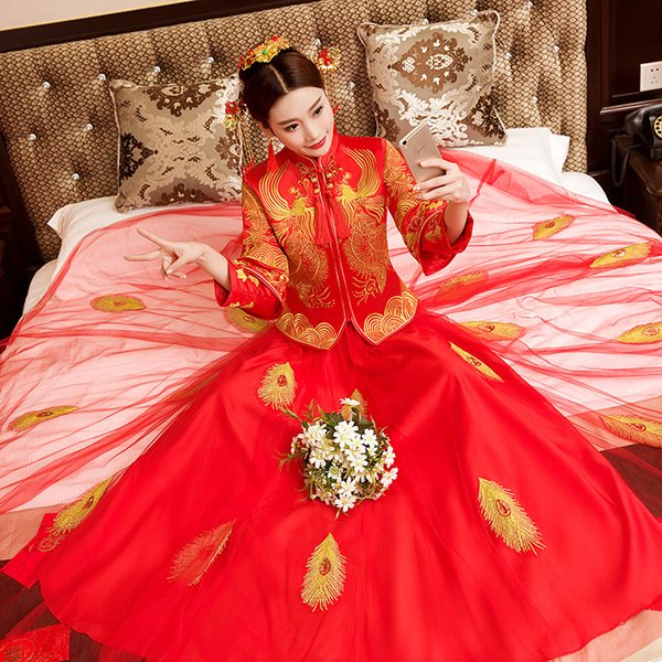 Women Tassel Qipao Handmade Embroidery Overseas Chinese Bride Wedding Mesh Dress Gown Phoenix Cheongsam Toast Clothing Suit