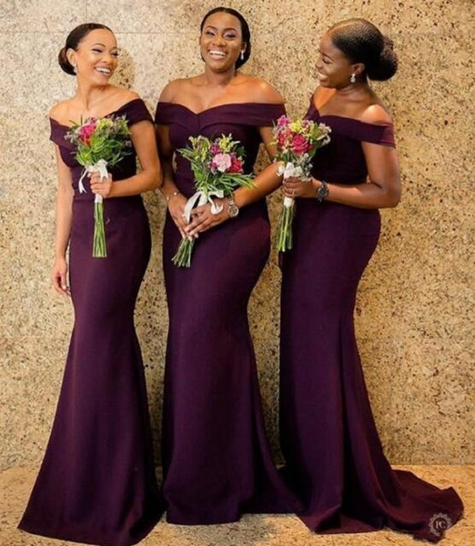 Üzüm Saten Mermaid Gelinlik Modelleri Suudi Afrika Kapalı Omuz Afrika Hizmetçi Honer Elbise Geri Fermuar Düğün Konuk Törenlerinde Ucuz