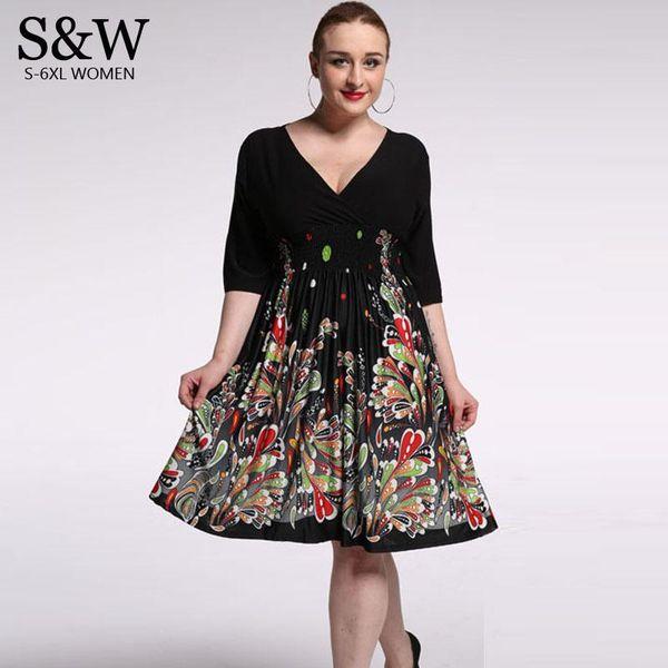 Plus Size XXXL 4XL 5XL 6XL 7XL Summer Women V-neck Froral Black Dresses Casual Beach Dress