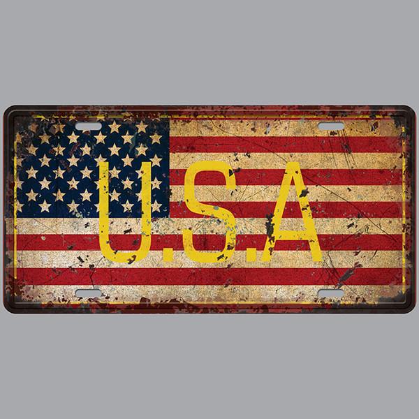 USA Car Plates Number USA License Plate Garage Plaque Metal Tin Sign Bar Decoration Vintage Home Decor