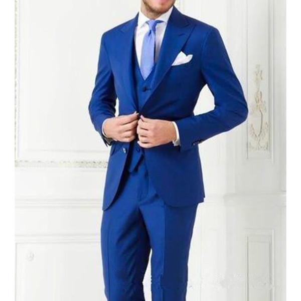 Party Royal Blue Herrenanzug Kleider Groomsmen Kleider Customized Bräutigam West Slim Herrenanzug Benutzerdefinierte (Tops + Pants + Westen)