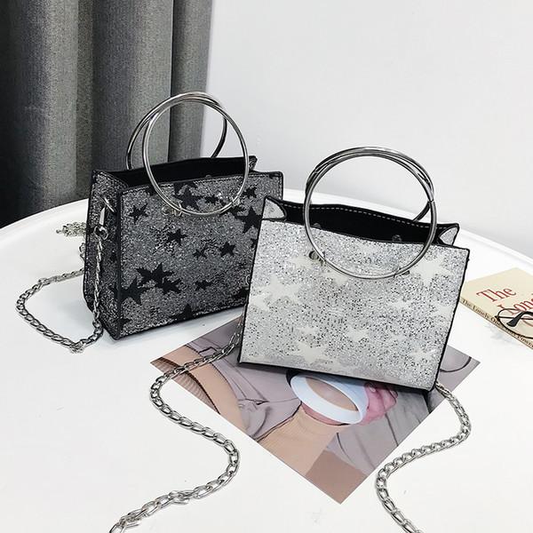 2018 Nuevo bolso de cuero de la pu bolsos de las mujeres bolsos de hombro de las señoras de la manera de alta calidad de los bolsos de mujer negro estrellas bolsa