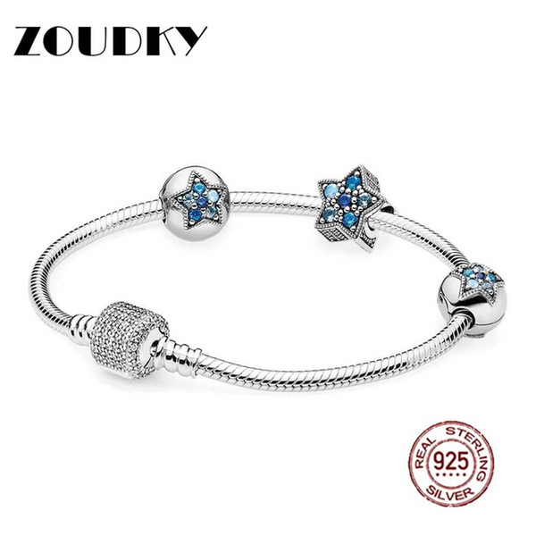 ZOUDKY Book Di 100% 925 Sterling Silver Bright Star Bracelet Set fit DIY Original charm Bracelets jewelry A set of prices