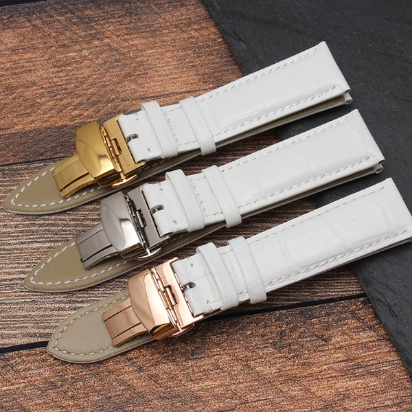 12MM 14MM 16MM 18MM 20MM Rose Gold Watch buckle Genuine Leather Watchband Wristwatches Strap Band White color for Women watches