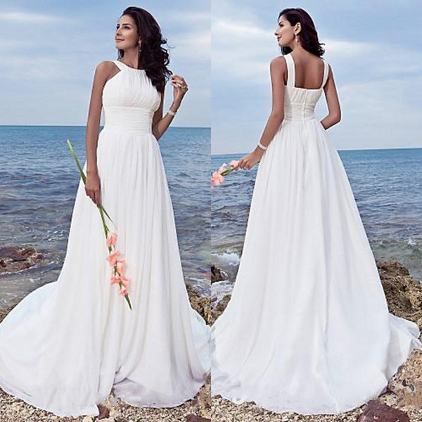 Plus Size Summer Beach Wedding Dresses Halter Neckline A Line Sweep Train Ruched Bodice Simple White Chiffon Cheap Bridal Gowns