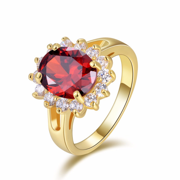 SuoHuan Classic Womens Rings Size 6-10 Red Zirconia Stone Crystal Gold Filled Female Rings Wedding Band Engagement Jewelry Gift