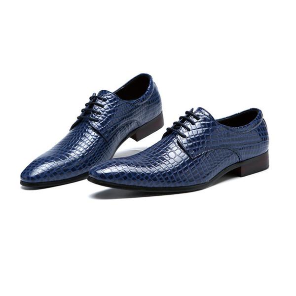 Lujo italiano hombre de cuero vestido formal zapatos derby dedo del pie puntiagudo hecho a mano banquete de boda hombres cocodrilo calzado discotecas zapatos q-248