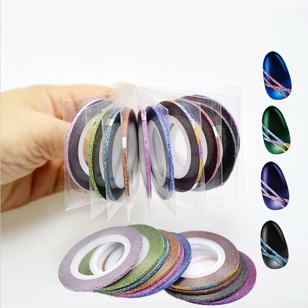 triping tape line Hot 12Colors/lot 2mm Glitter Powder Striping Tape Line Nail Art Sticker Decoration DIY Decals UV Gel Acrylic Nail Tips ...