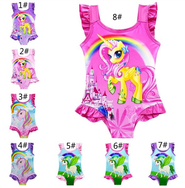 best selling 8 Styles Kids Unicorn Swimsuit Children One Piece Beachwear Kids Swimwear Lace Sleeveless Briefs Sling Baby Girls Bathing Suits Z11