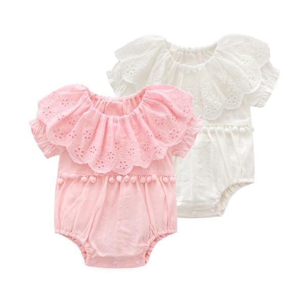 Neugeborene Mädchen Weiche Weiße Körper Geburtstag Kleider Baby Kostüm Vestidos Infant Baby Kurzarm Kleidung Mode Spitze Lotus Tuch