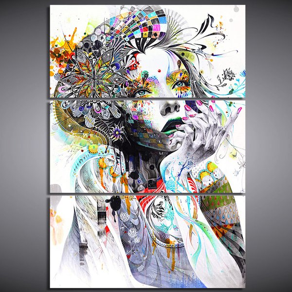 Canvas Paint Print 3 Piece Abstract Watercolor Girl Face Flower Hair Poster Wall HD Art Framework Modular Pictures For Living Room