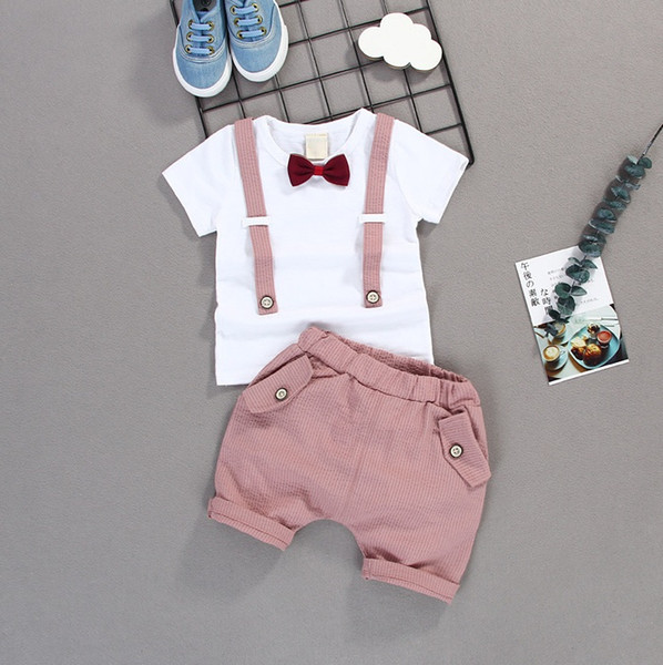 Boys Gentleman Sets Baby Clothing 2018 Summer Short Sleeve Bow T-shirt + Cotton Stripe Shorts 2 pcs EE-265