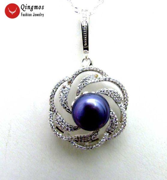Qingmos Gümüş Kolye ile Kadınlar için 11-13mm Siyah Düz Yuvarlak Inci 25mm Gül Kolye Kolye takı 16