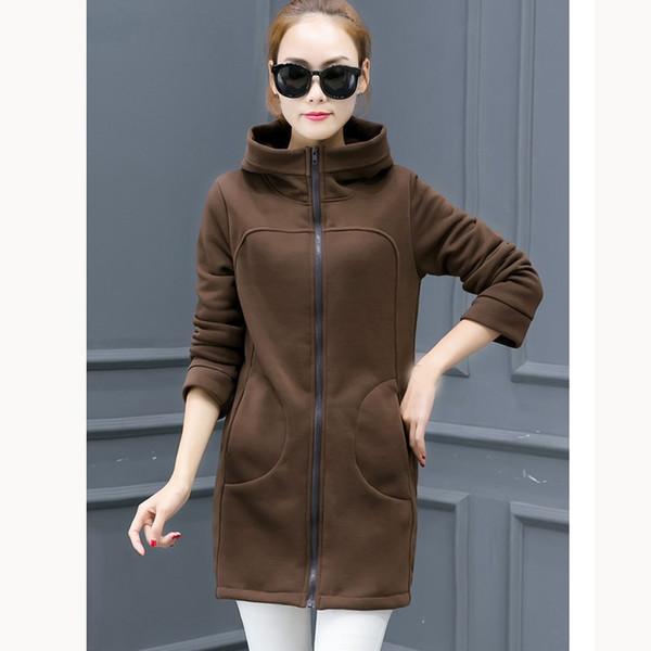 Autumn Winter New Hoodie Sweatshirt Women Solid Casual Loose Zipper Plus Size Coat Thick Hoodies Jacket Long Coat