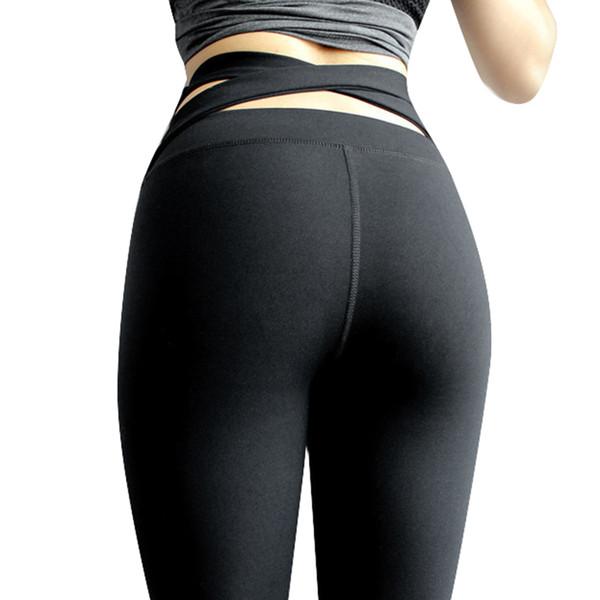 Mujeres Leggings deportivos Crisscross Vendaje Recorte Volver Sólido Entrenamiento de fitness Leggings sin costuras Otoño Invierno Bodycon Pantalones Negro