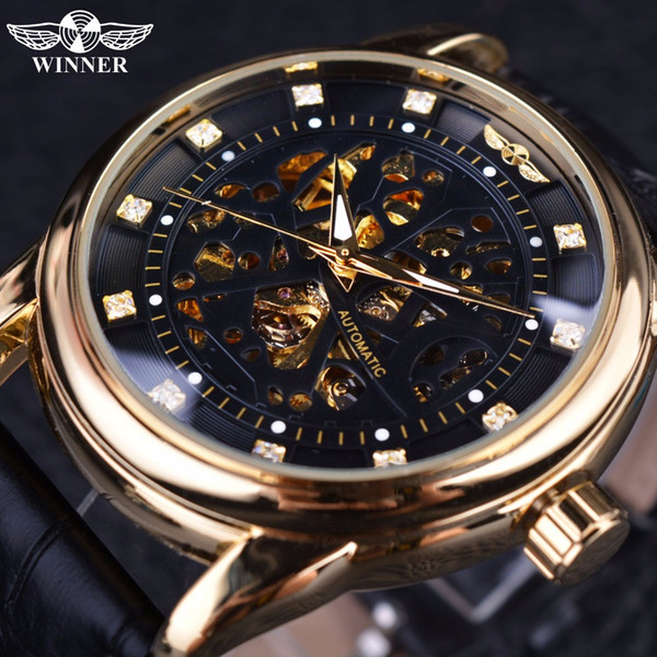 Winner Classic Leather Series Royal Diamond Design Black Golden Case Hombres esqueleto Reloj Top Brand Luxury Automatic Watch
