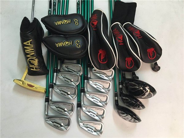 honma tw737 full set honma tour world golf clubs driver + fairway woods + irons + putter r/s graphite shaft with head cover