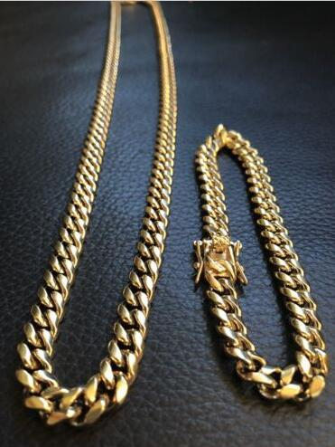 10mm Mens Cuban Miami Link Bracelet & Chain Set 14k Gold Plated Stainless Steel