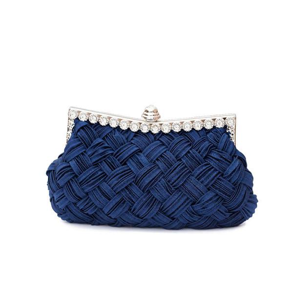 New Arrival Womens Evening Weaved Satin Party Evening Bag Handbag Wedding Clutch Purse Shoulder Bags 2019