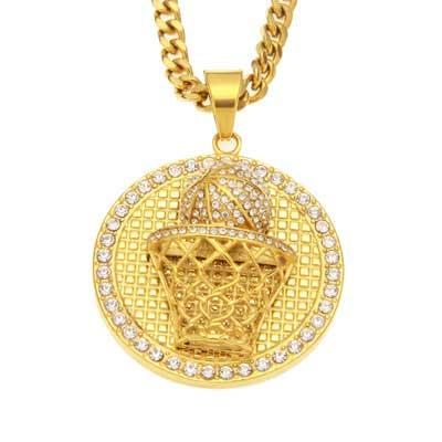 Mens hip hop jewelry basketball box shape crystal pendants necklaces European and American style rhinestone hip hop chain accessory