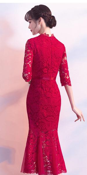 Vestido de novia brindis con cheongsam Nueva sección larga de manga larga de encaje rojo de vuelta al vestido de compromiso de boda de cola de pez