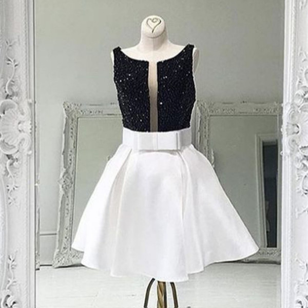 Black And White Prom Dress Short 2018 Unique Neckline A line Satin Beaded Bodice Cheap Homecoming Evening Cocktail Dress New