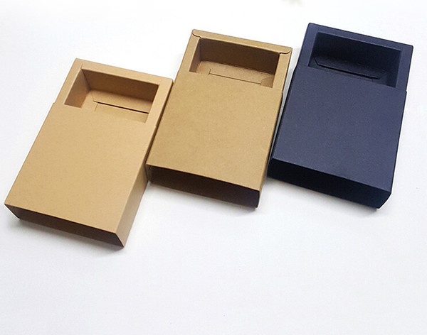 top popular Various sizes Kraft Boxes Drawer Boxes New Year Gift Boxes Square Accessories Electronics Packaging 2019