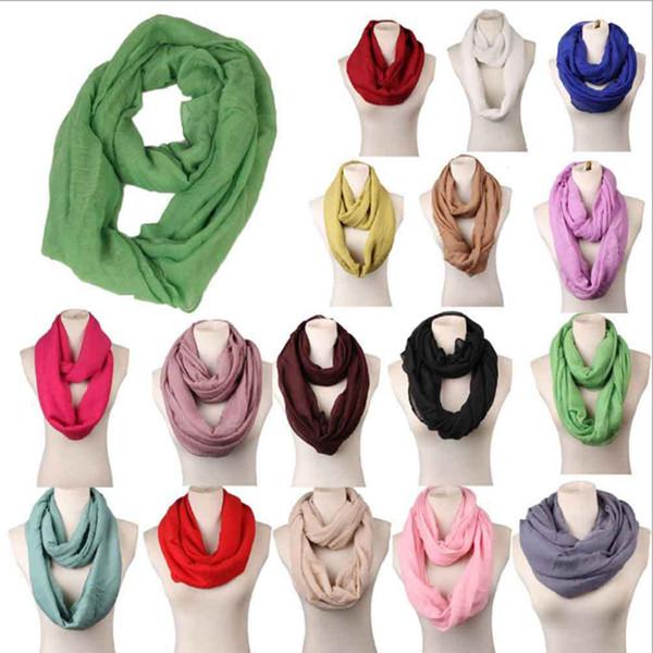 Neuer Frauen-Unendlichkeits-Schal-Entwurf mit 16 Farben festem Voile-Polyester-Winter-warmem Dame Ring Loop Scarf LE52