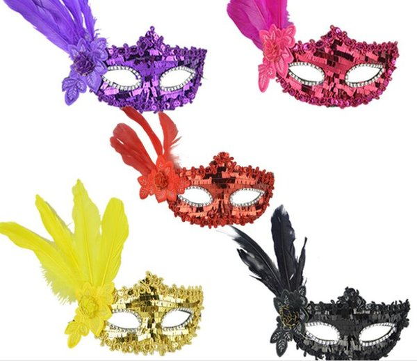Dance party masks, Halloween birthday parties, props, Christmas gifts, feather strips, sequins, embroidered masks, L777