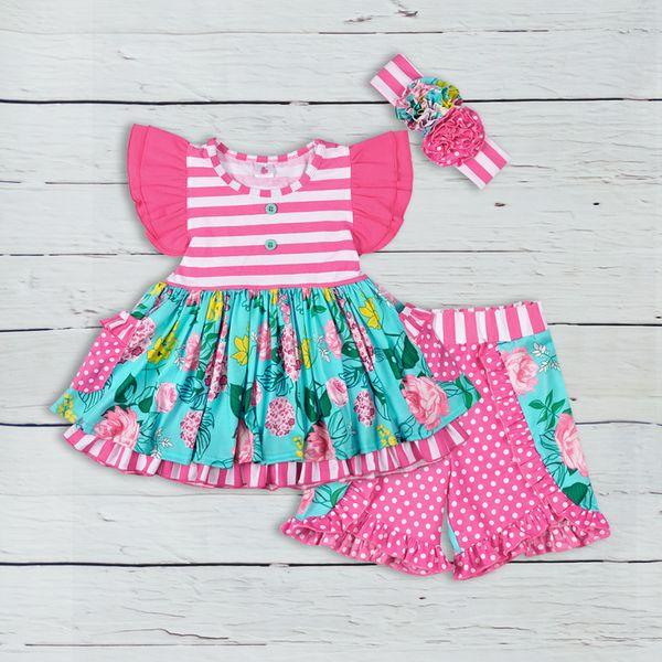 Baby Girls Ruffle Abbigliamento Flower Top Kintted Cotton Capris Ragazze Boutique Bambini Abiti estivi di alta qualità Match Vestito sorella Y1892707