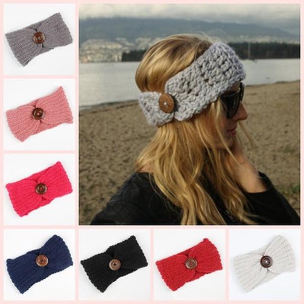 8Colors Women Winter Buckle Knitted Crochet Headband Girls Sports Button Headwrap Hairband Turban Head Band Ear Warmer Beanie Cap Cheap