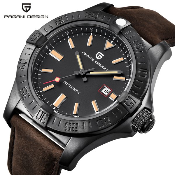 PAGANI DESIGN New Men's Classic Mechanical Watches Waterproof 30M Genuine Leather Brand Luxury Large dial Automatic Watch saat
