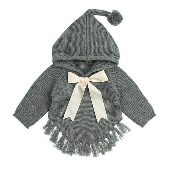 INS todder kids tassel sweater shawl kids pompon hooded long sleeve knitted poncho girls Bows tie princess cape baby girl clothes F0644