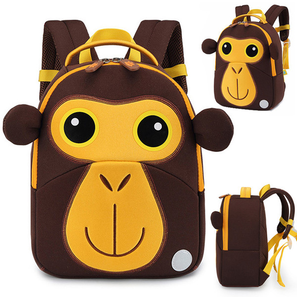 3D Monkey School Bags for Boys Girls Cute Animals Design Children Backpacks Student Schoolbag Kids Bag Okul Cantalari Mochila