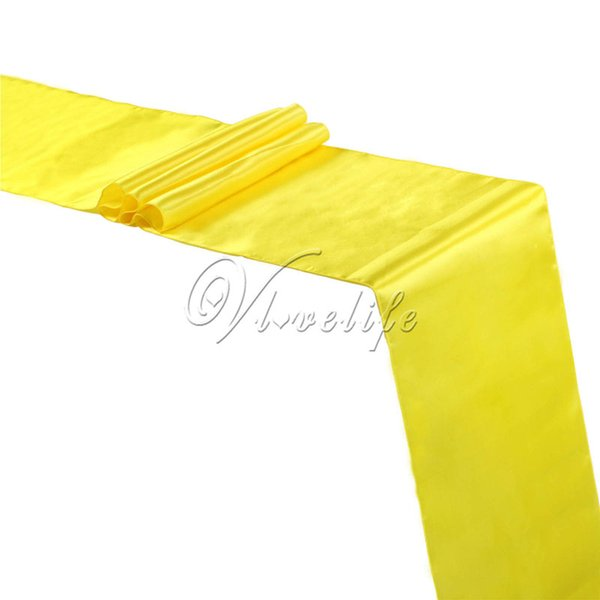 "top popular Free shipping Yellow Satin Table Runner 12"" x 108"" Wedding Party Banquet Home Table Decor Supplies 30x275cm 2019"
