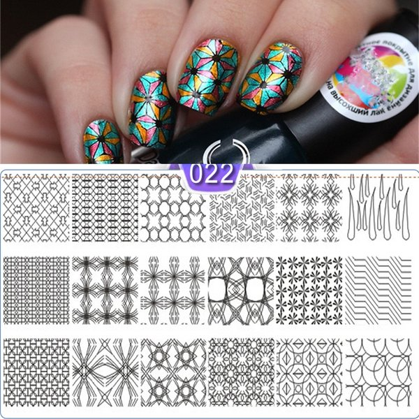 New Arrived Nail Stamping Plate 5*12cm Rec Geometry Cartoon Letter Patten Template Manicure Nail Art DIY Stamp Image Plate