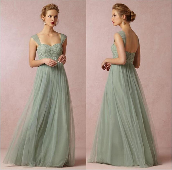 Sage Green Princess 2019 Long Bridesmaid Dresses A-line Sweetheart Neckline Cap Sleeves Tulle with Lace Floor Length Prom Dresses