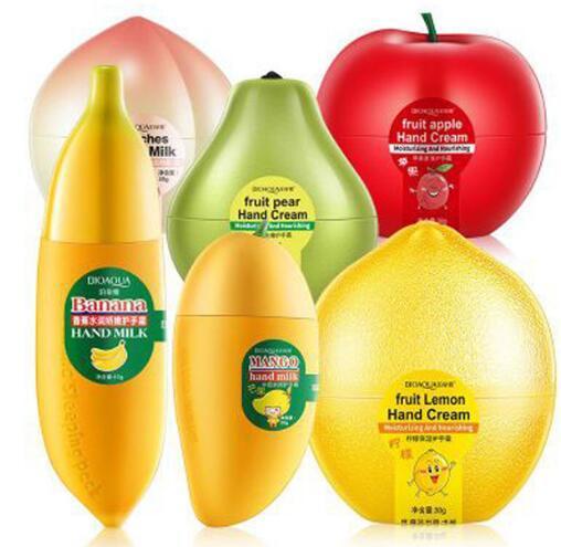 Hot 3 pçs / lote Creme Para As Mãos de Frutas Pêssegos / Banana / Mango Hidratante Nutritivo Mão Creme Para O Inverno Cuidados Com As Mãos