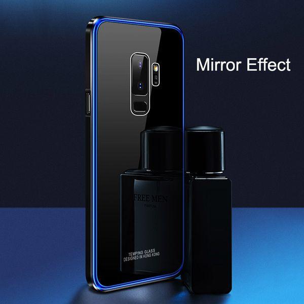 Зеркальный чехол для Samsung Galaxy S9 S9 Plus S9+ крышка металлического бампера+покрытие PC Edge+закаленное стекло назад жесткий чехол 3 в 1 тонкий Capa