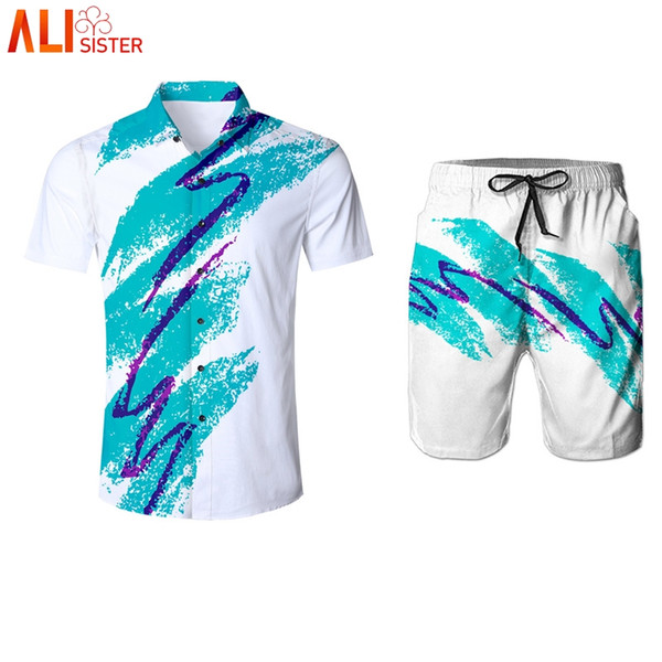 Alisister 90s Jazz Solo Paper Cup Suits Men Shirts And Shorts Summer Funny Print Sweatpants Turn-down Collar Tuxedo Shirt Pants