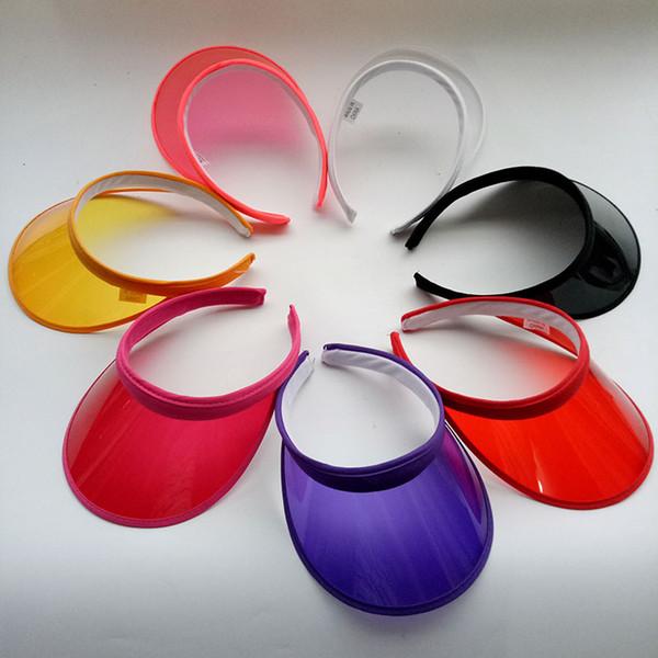 Summer PVC Visor Hat Unisex Clear Plastic Solid Sun Cap Empty Top Hats for Men Women