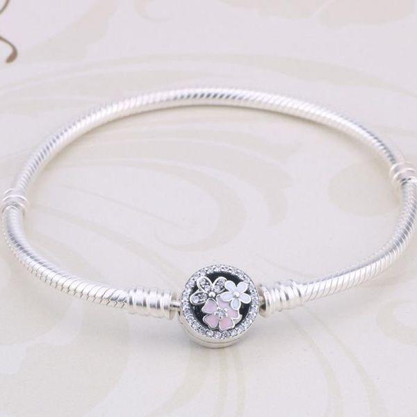 Genuine 925 Sterling Silver Poetic Blooms Clasp Snake Chain Bracelets For Women Flower Clip Charms Bracelet