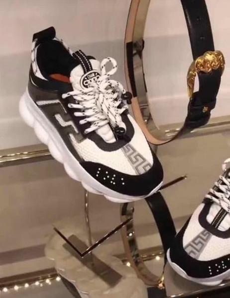 2018 Chain Reaction Sneaker alle Farben schwarz Leder hochwertige Turnschuhe Luxus Designer Frauen Männer Liebhaber Trainer Freizeitschuhe echte AW5