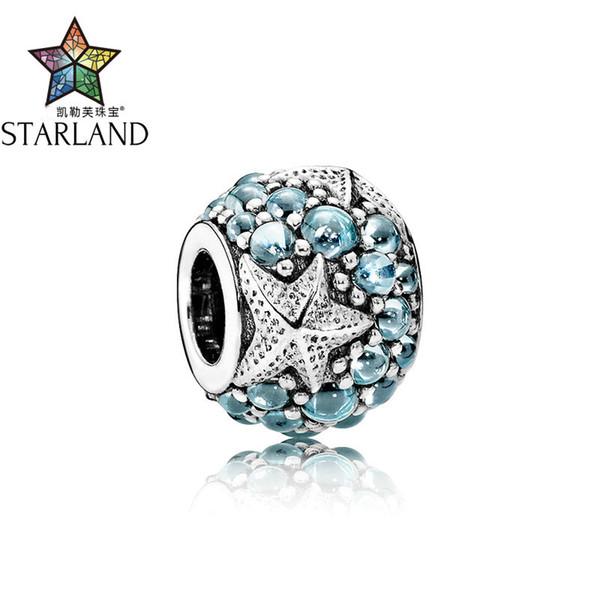 Starland Fashion Genuine Silver 925 Ocean Theme Blue CZ Starfish Charms Beads Fit Original Charms Bracelet Women Jewelry Gift